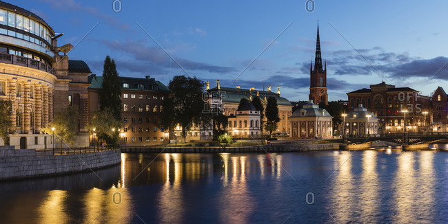 Sweden, Stockholm, City at night