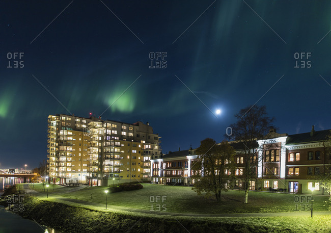 Sweden, Vasterbotten, Umea, City at night