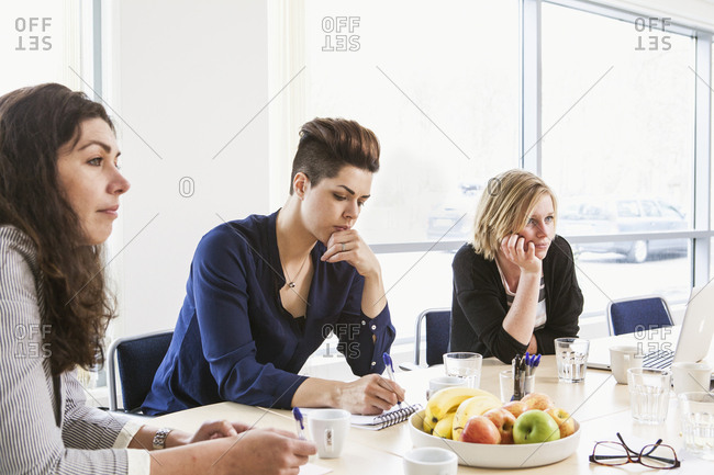Sweden, Women concentrating on discussion