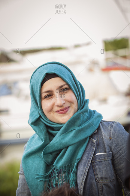 Sweden, Bleking, Solvesborg, Portrait of woman wearing headscarf