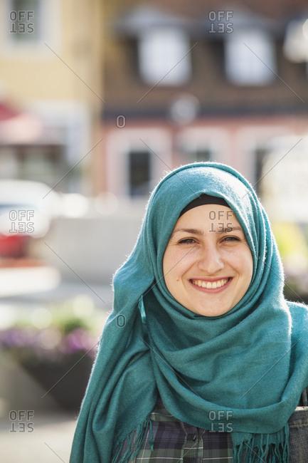 Sweden, Bleking, Solvesborg, Portrait of woman wearing headscarf
