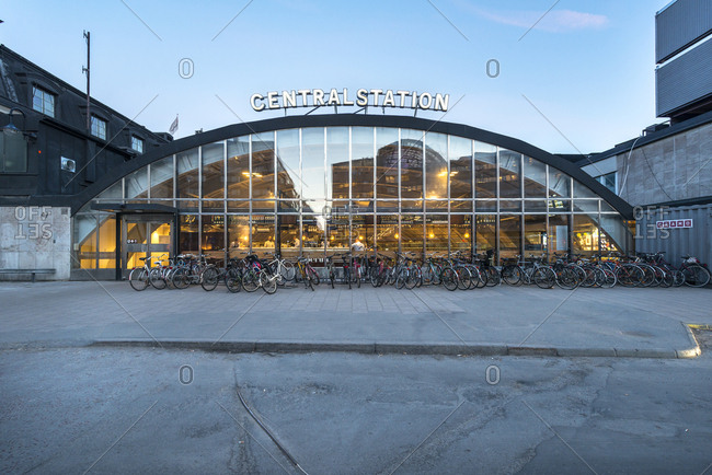 Sweden, Stockholm  - October 26, 2016: Bicycles by central station at dawn