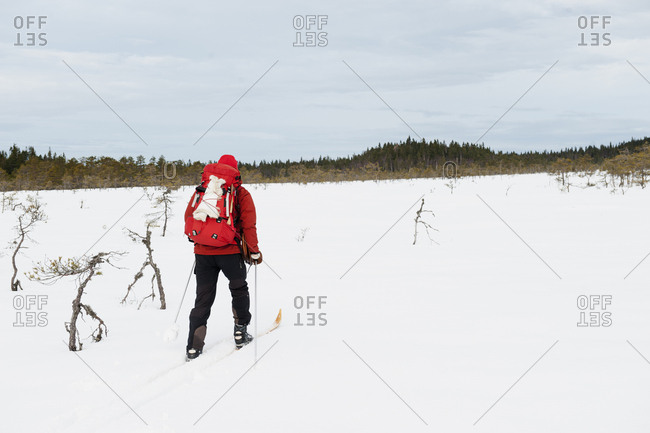 Sweden, Vastmanland, Man skiing in Kindla nature reserve