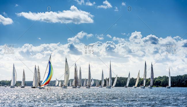 Sweden - November 10, 2016: Sailboats on lake on sunny day