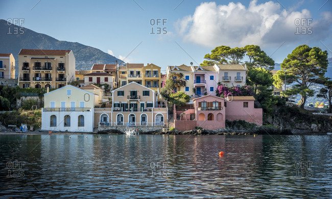 Greece, Assos - November 10, 2016: Townhouses on waterfront