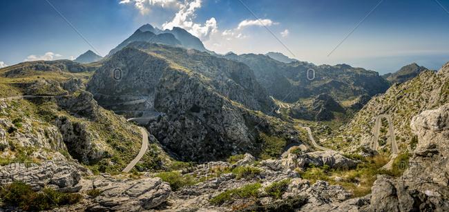 Spain, Mallorca, Font de sa Mata, Winding road in mountains