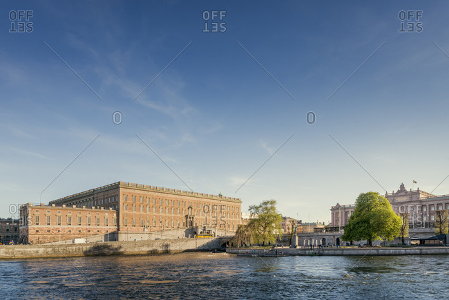 Sweden, Stockholm - September 22, 2016: Old town waterfront with Royal Palace and Museum of Medieval Stockholm