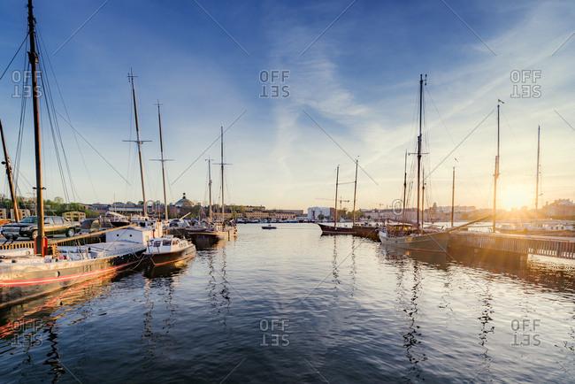 Sweden, Uppland, Stockholm, Djurgarden, Sailboats in port