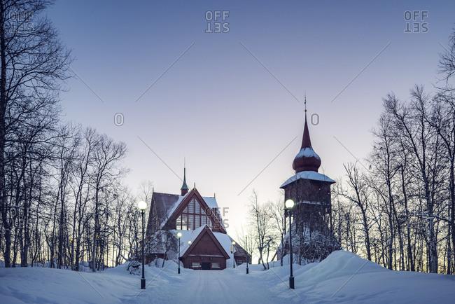 Sweden, Lapland, Kiruna, Church in winter