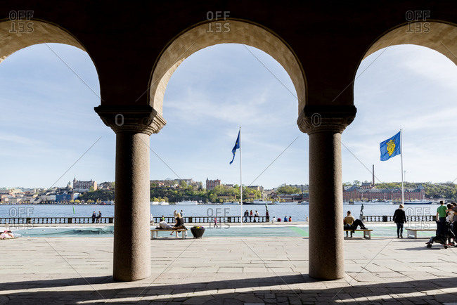 Sweden, Stockholm - September 22, 2016: City panorama seen from under Stockholm City Hall arcades