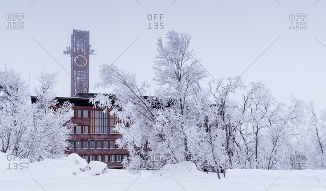 Sweden, Lapland, Kiruna, Building with clock tower
