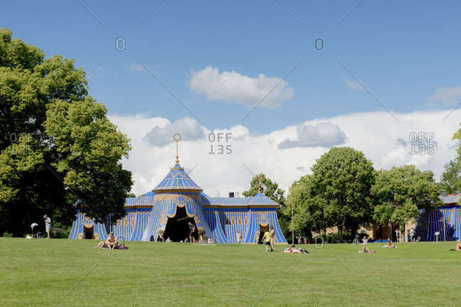 Sweden, Stockholm - September 29, 2016: Entertainment tent in public park