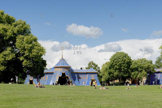 Sweden, Stockholm - September 29, 2016: Entertainment tent in public park