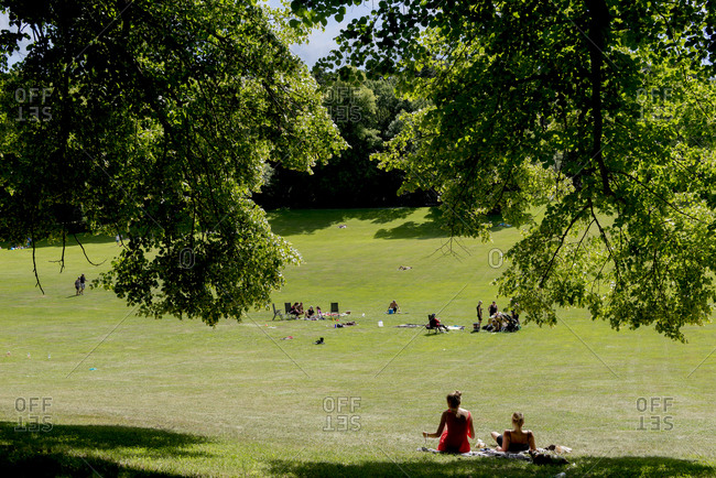 Sweden, Stockholm - September 29, 2016: Public park with resting people