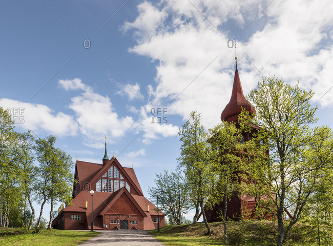 Sweden, Lapland, Kiruna, Cloudy sky over church