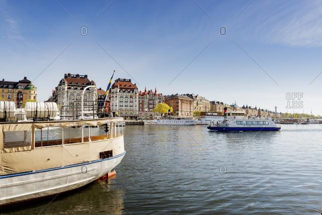 Sweden, Stockholm - November 4, 2016: Nybroviken, Tourboat leaving harbor