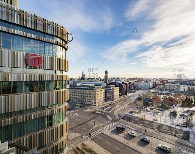 Sweden, Malmo - December 19, 2016: Office building and city view