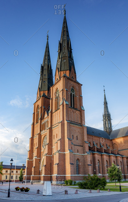 Sweden, Uppland - December 20, 2016: Uppsala cathedral under blue sky