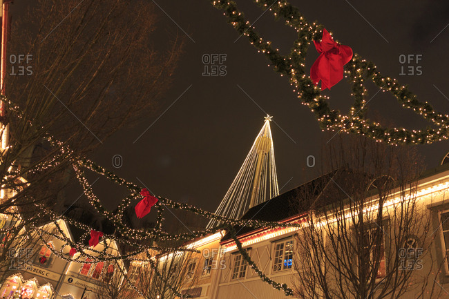 Sweden, Gothenburg - February 19, 2014: Bare tree and lamppost decorated with fairy lights