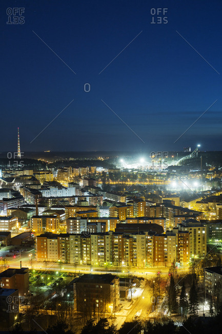 Finland, Paijat-Hame, Lahti, City at night