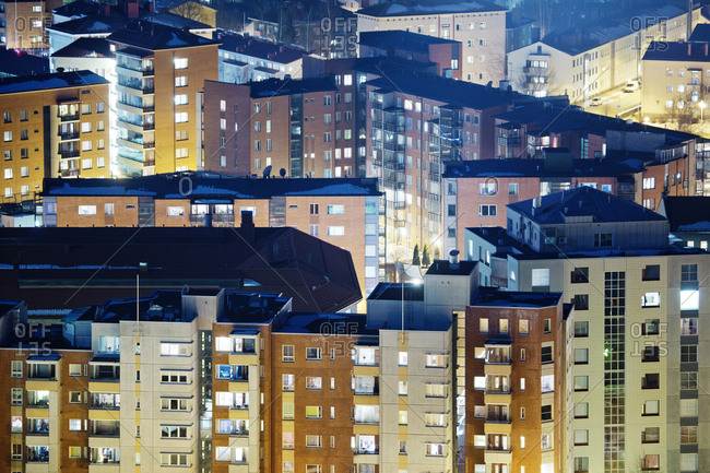 Finland, Paijat-Hame, Lahti, Blocks of flats at night