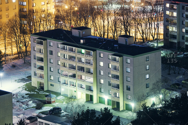 Finland, Paijat-Hame, Lahti, Block of flats at night