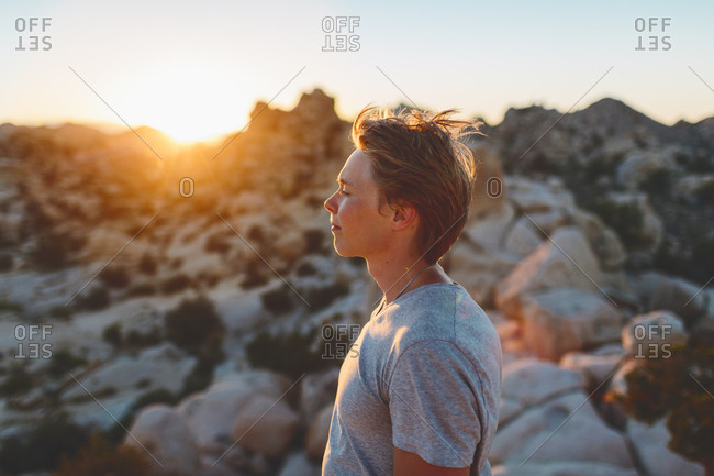 USA, California, Joshua Tree National Park, Young man contemplating at sunset