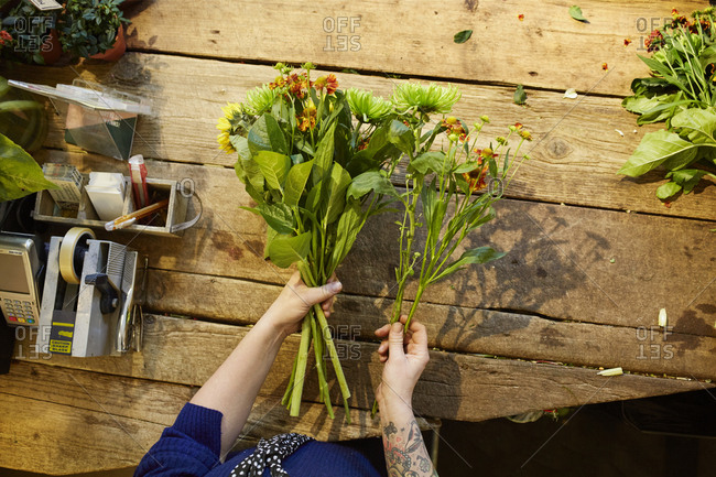 Sweden, Florist working in flower shop