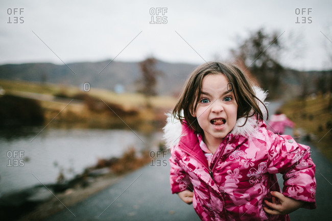 Portrait of a girl making a silly face