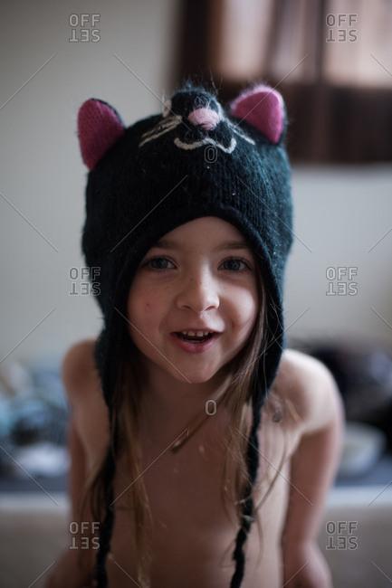 Little girl with kitten hat