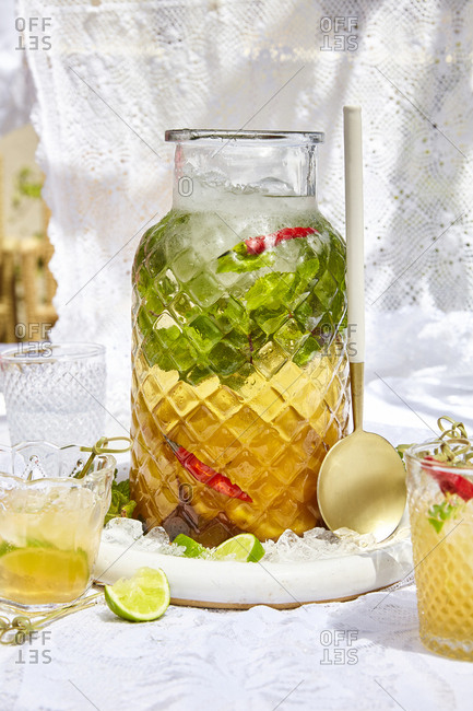 Refreshing pineapple with a hint of chili laced with rum best served over crushed ice