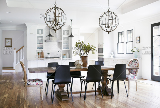 Modern open kitchen and dining room