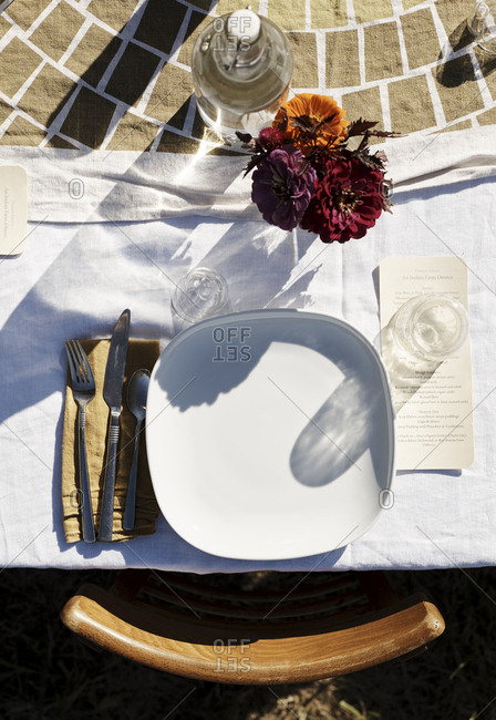Overhead view of outdoor place setting