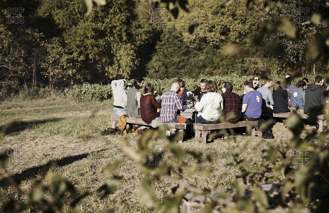 Virginia, USA - October 23, 2016: Large group of friends have outdoor dinner at farm