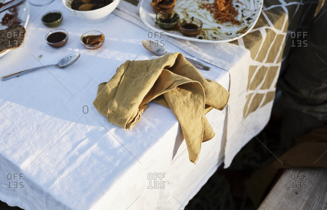 Napkin on table at end of meal