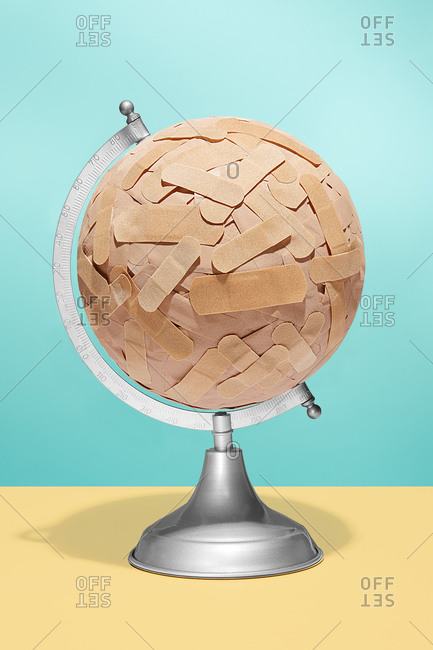 Globe covered with bandages