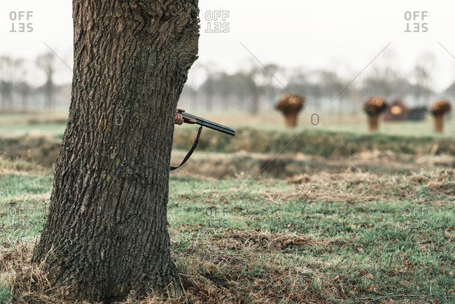 Hand of hunter holding rifle standing behind tree trunk.
