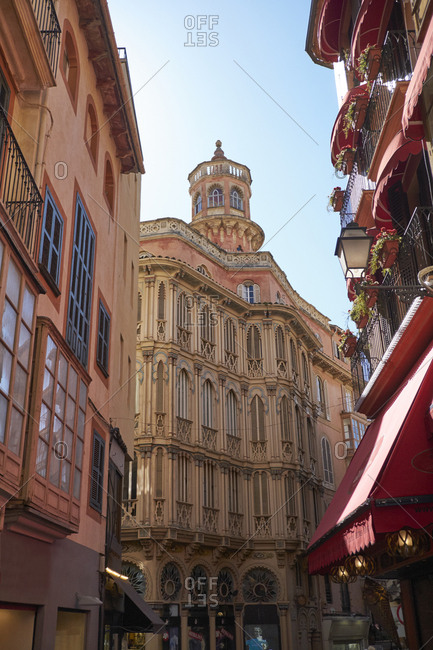 Spain - Mallorca - Palma - March 2, 2017: Historical facades in the old town