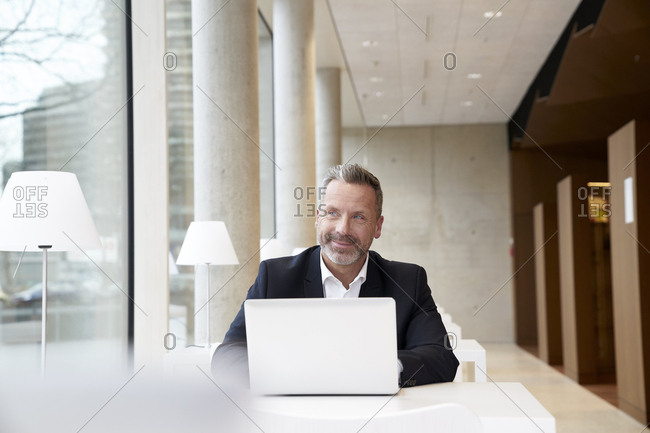 Smiling businessman using laptop on table