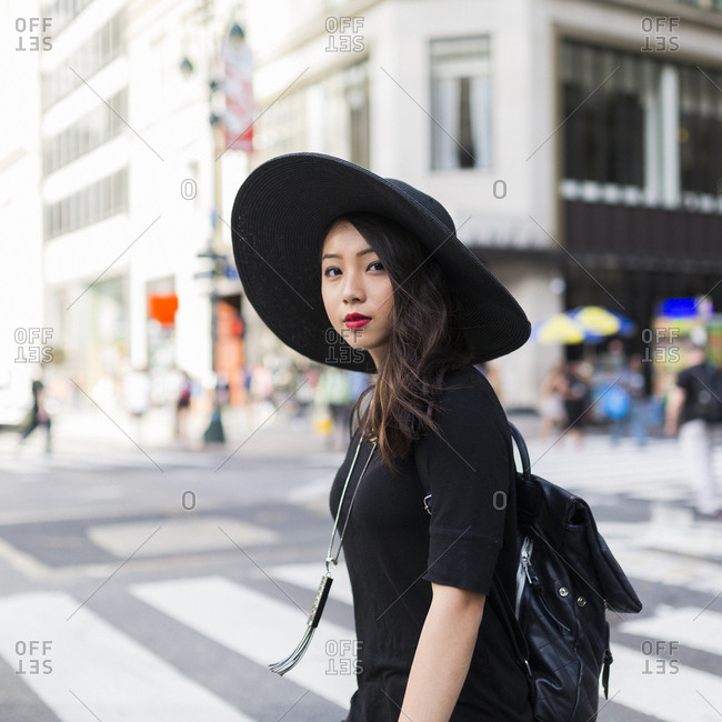 USA - New York City - Manhattan - portrait of fashionable young woman dressed in black