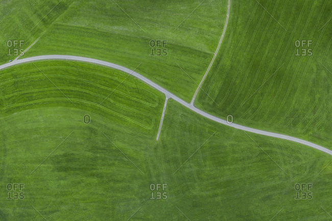 Empty country road - aerial view