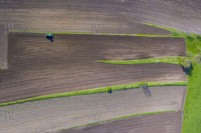 Tractor on field - aerial view
