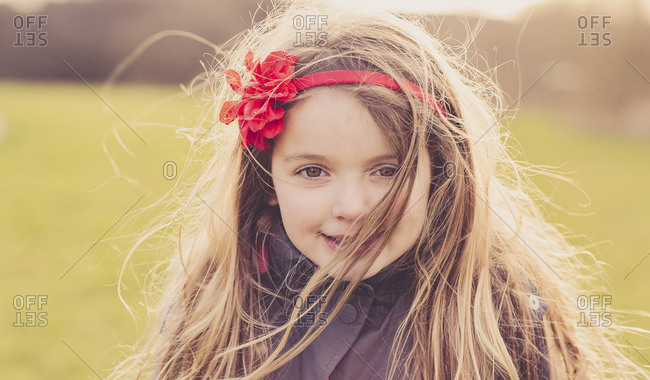 Portrait of little girl wearing hair band