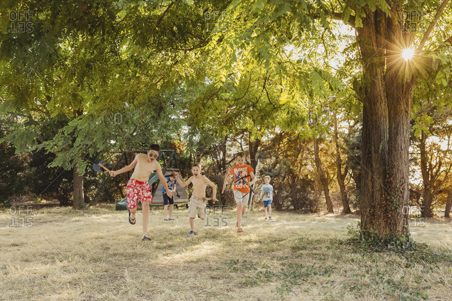 Boys playing on a meadow