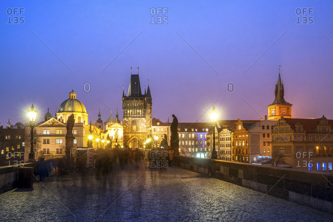 Czechia - Prague - March 29, 2017: Charles bridge at the blue hour