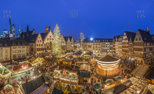 Germany, Frankfurt - December 16, 2016: Christmas market at Roemerberg in the evening seen from above