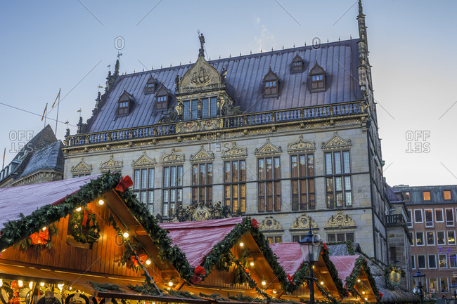 Germany, Bremen - December 5, 2016: View to Schuetting with Christmas market stands in the foreground