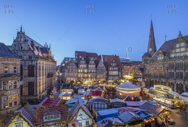Germany, Bremen - December 5, 2016: Christmas market on market square in the evening seen from above