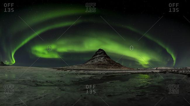 Iceland - Northern lights at Kirkjufell mountain