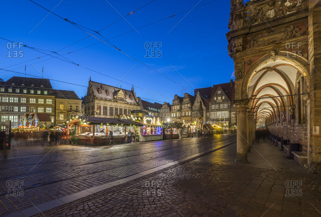 Germany, Bremen - December 5, 2016: Christmas market in the evening